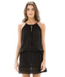 Short black see-through beach dress - CAVA RENDA