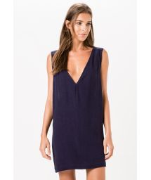 Navy blue summer dress with low V-neck - CEU AZUL