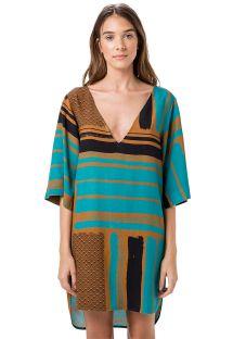 Пляжная туника в этническом стиле коричнево-бирюзового цвета - DECOTE PROFUNDO TUNA