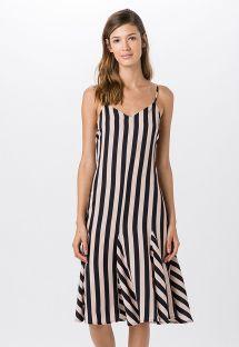Midi beach dress in black and white stripes - NESGAS FLAG