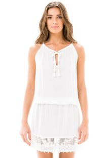 Vestito pantaloncino trasparente da spiaggia bianco - RENDA WHITE