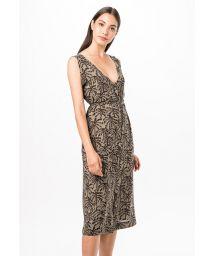 Buttoned beach dress in khaki print - SAIDA KAKI TINA
