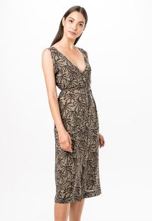 Buttoned beach dress in khaki print - SAIDA KAKI TINA