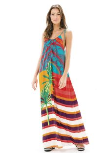 Multicoloured stripes and palm-tree pattern maxi dress - SUNSHINE DRESS