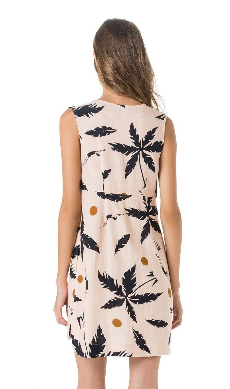 Beige strandklänning - Palmträdsmotiv - VESTIDO DECOTE PROFUNDO
