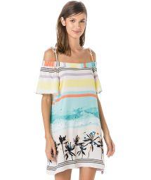 Strandklänning med Bardot-urringning - tropiskt vintagetryck - VESTIDO DRONE