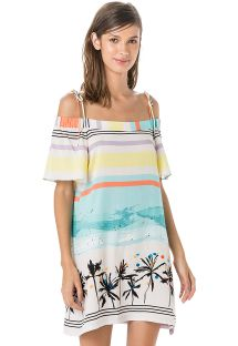 Beach dress with Bardot neckline - tropical vintage print - VESTIDO DRONE