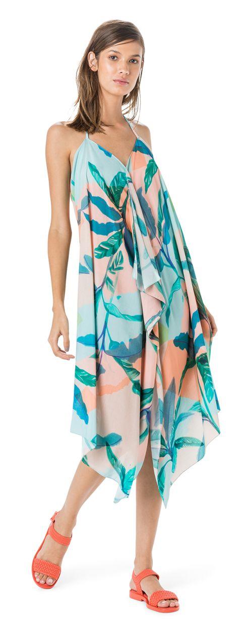 Strandklänning i tropiskt pastelltryck - VESTIDO FRENTE ÚNICA LENÇO
