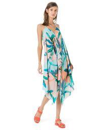 Пляжное платье в пастельных тонах с тропическим принтом - VESTIDO FRENTE ЪNICA LENЗO