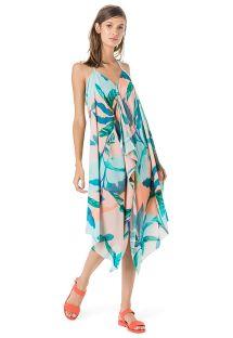 Strandkleid,tropischer Aufdruck in Pastellfarben - VESTIDO FRENTE ÚNICA LENÇO