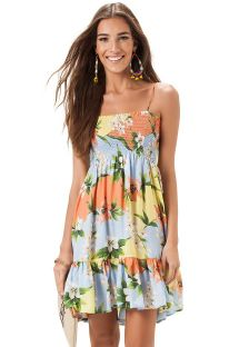 Floral beach dress with smocked bodice - VESTIDO LASTEX LESLIE