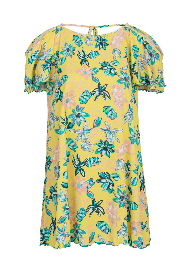 Yellow mini dress with open shoulders and floral print - SAIDA FLORESCER OFF SHOULDER