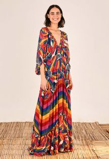 RAINBOW TOUCANS MAXI DRESS