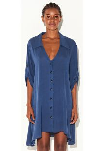 Luxurious navy blue shirty dress - CHEMISE MARINHO