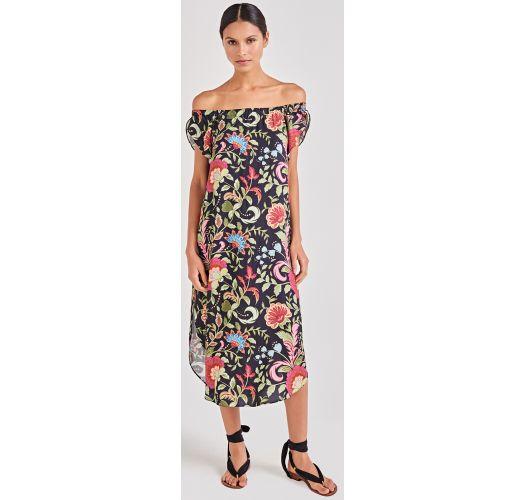 50b5f86a Kjole Svart Blomstrete Strand Kjole Med Bardot Utringning - Dama Life