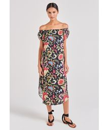 Black floral beach dress Bardot neckline - DAMA LIFE