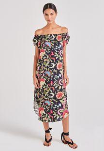 שמלת חוף פרחונית שחורה עם קו צוואר בסגנון בארדו - DAMA LIFE