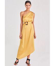 Gul, asymmetrisk strandklänning med skärp - GODDESS AMARELO