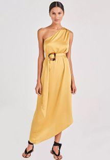 Пляжное асимметричное платье желтого цвета с поясом - GODDESS AMARELO