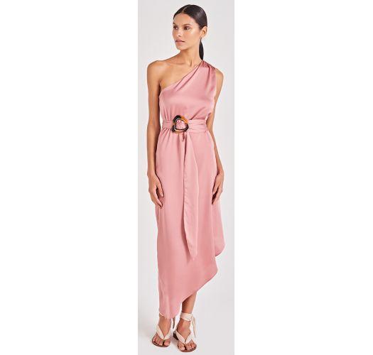 0bae04f1d322 Φόρεμα Ρόζ ασύμμετρο φόρεμα παραλίας με έναν ώμο έξω - Goddess Rose