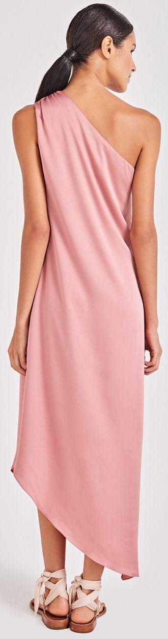 Rosa asymmetrisk strandklänning med en axel - GODDESS ROSE