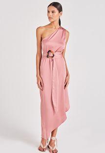 Pink asymmetric one-shoulder beach dress - GODDESS ROSE