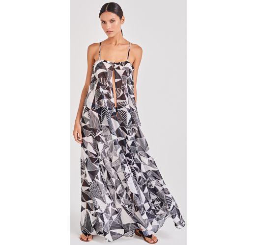 Czarno-biała lekka długa plażowa sukienka - LEVE UMBRELLAS