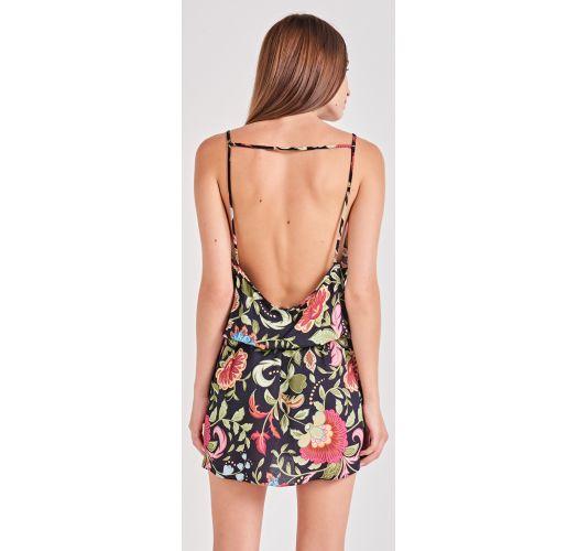 שמלת חוף שחורה פרחונית באורך מיני - SUMMER LIFE