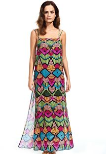 Long openwork side slit beach dress - TRIBAL COLORIDO