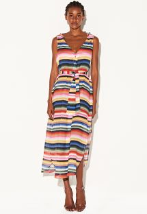 Long striped buttoned dress with laced sides - VESTIDO LARGO LISTRADO
