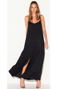 Luxurious long buttoned black beach dress - VESTIDO LARGO PRETO