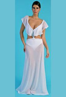 Комплект из цельного купальника белого цвета и юбки - CONJUNTO SAIA + BODY TRANЗA