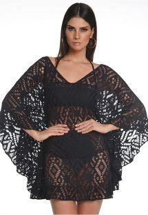 Black beach cover up with openwork - MORCEGO BABADO