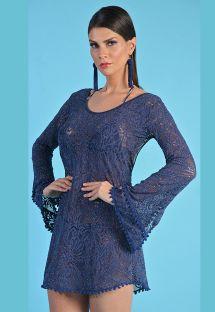 Узорчатое пляжное платье сиреневато-синего цвета с длинными рукавами - SAIDA CURTA DEC OVAL