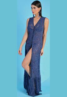 Длинное узорчатое пляжное платье сиреневато-синего цвета назастёжке - SAIDA LONGA BABADO BARRA