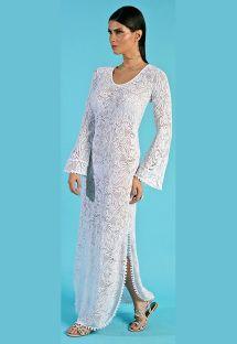 Пляжное длинное кружевное платье белого цвета с открытой спиной - SAIDA LONGA DEC OVAL