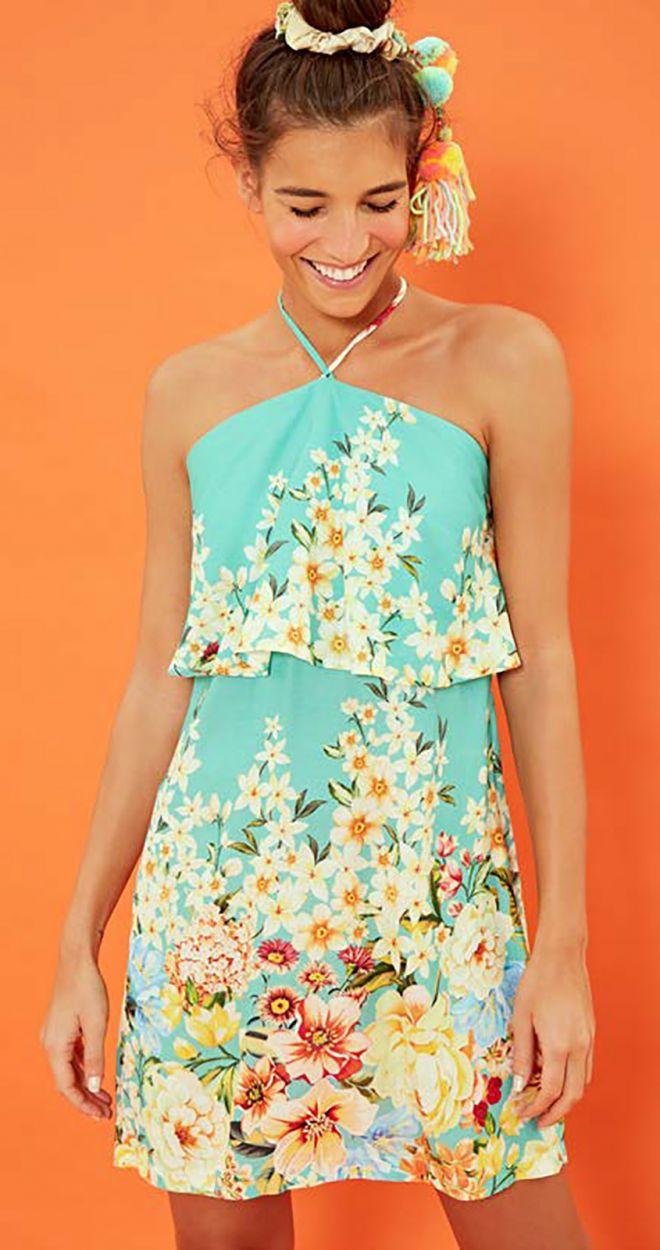 Flower sky blue mini beach dress - VESTIDO FRENTE ÚNICA MAGNÓLIA - VERDE