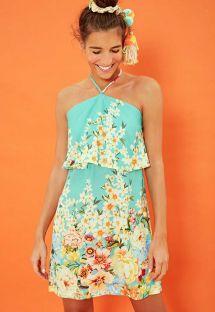 Vestito da spiaggia florelae blu cielo - VESTIDO FRENTE ÚNICA MAGNÓLIA - VERDE