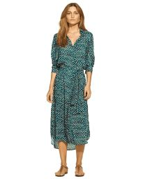 Belted shirt dress with green print - LYDIA CHEMISE NIAS