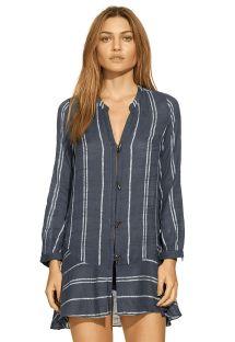 Longue chemise en coton marine à rayures - STEPH CHEMISE INDIGO