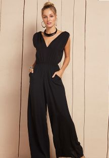 Black jumpsuit with flared trousers and a V-neck - AIRA