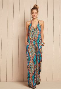 Multicoloured flowing beach jumpsuit - CAMALEOA