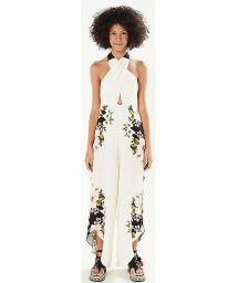Draped floral jumpsuit open back - MACACAO HIBISCO DELICADO