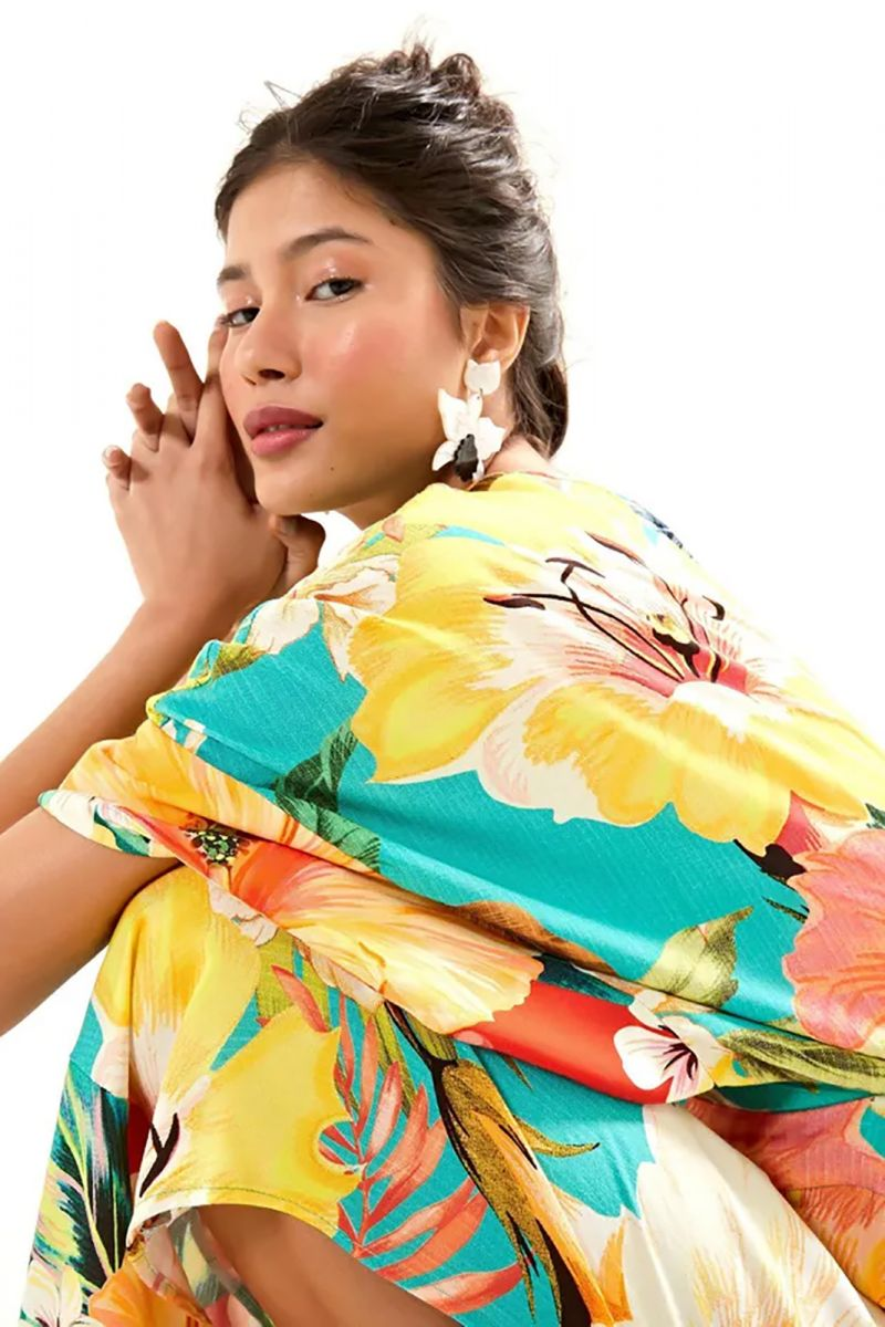 Beach jumpsuit with big colorful flowers - MACACAO MAXI FILIPINAS