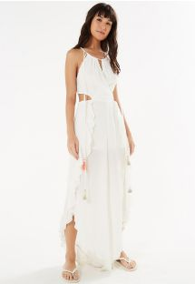 White jumpsuit with ruffles and tassels - ORQUIDEA