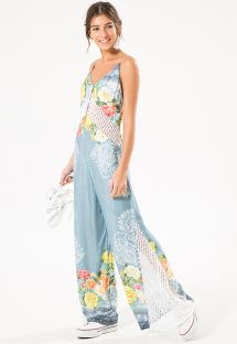 Wide-leg jumpsuit in floral printed denim - ROSEBUSH LACE