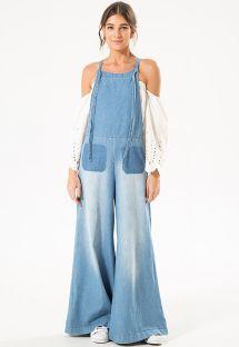 Комбинезон салопет из джинсовой ткани с брюками с широким клешем - WID LEG JUMPSUIT