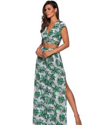 Beach set: slit trousers and crop top in leaves print - CROPPED CRUZADO VIUVINHA