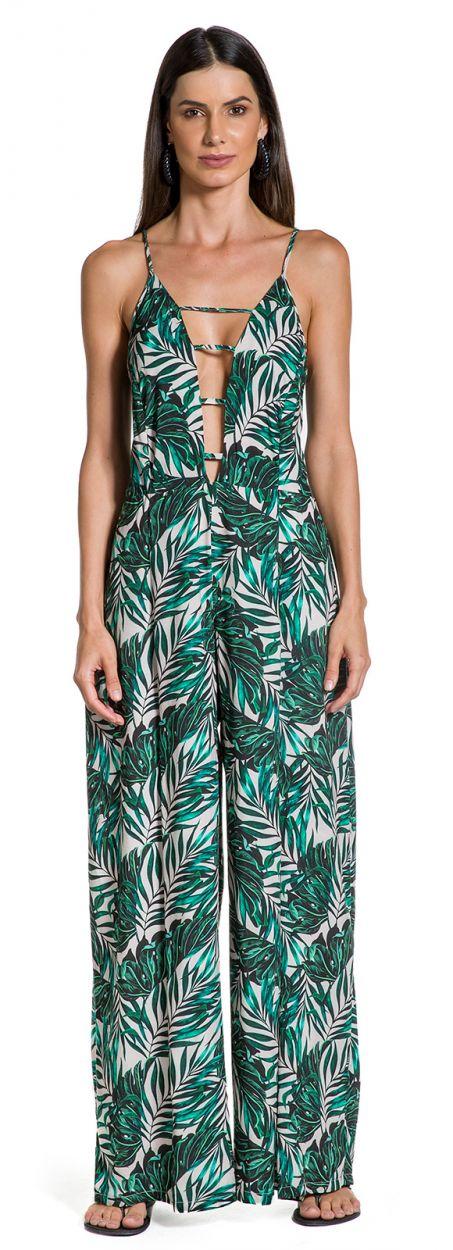 Deep neckline beach jumpsuit in foliage print - LONGO FOLHAGENS