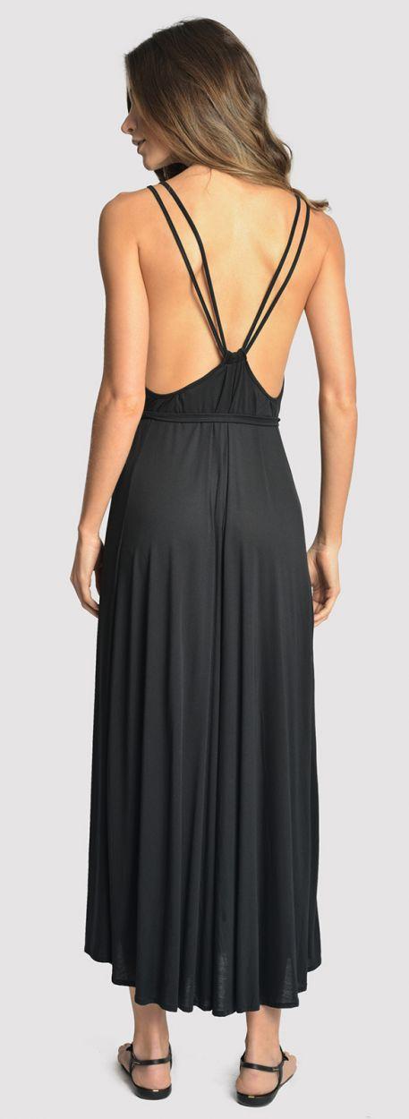 Black luxurious beach romper - WIDE BLACK